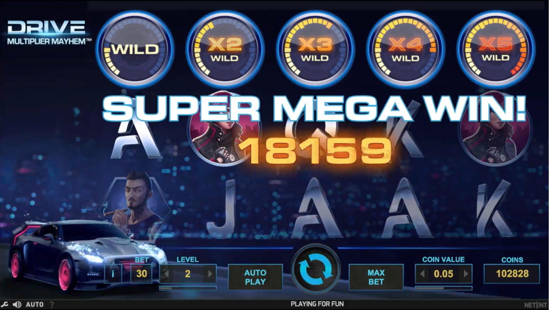 Super Mega win with all wilds on the Drive video slot