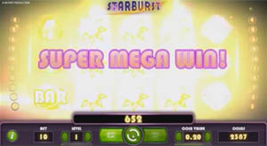 Super Mega Big Win on the Starburst video slot