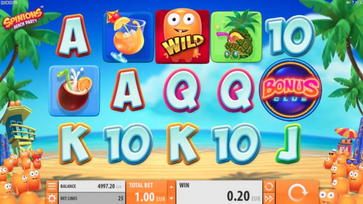 spinions beach party video slot