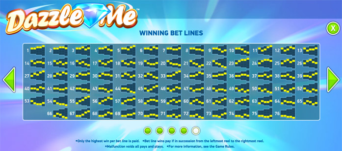The Winning Bet Lines on the Dazzle Me Video Slot